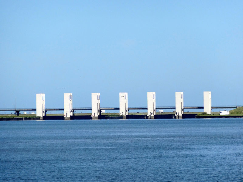 Houtrib dam near Lelystad, Flevoland province. They are white and neatly separated from each other alongside the dam.