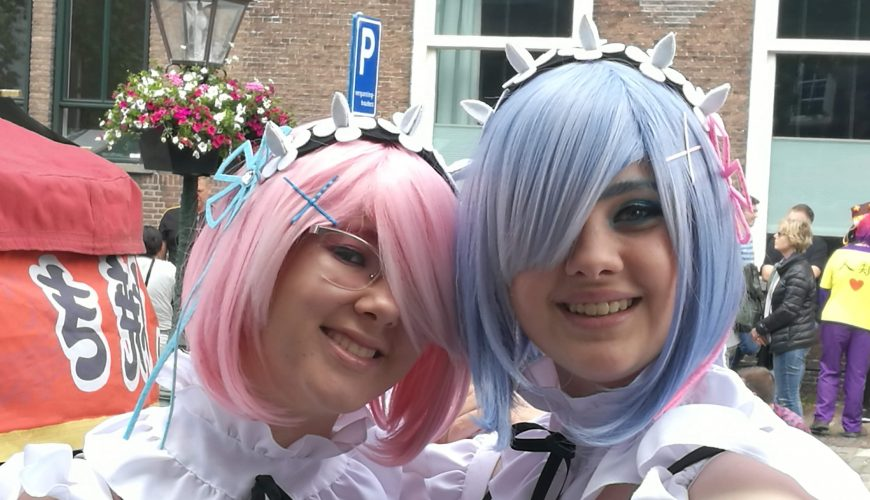 Costumed guests of the Japan market in Leiden
