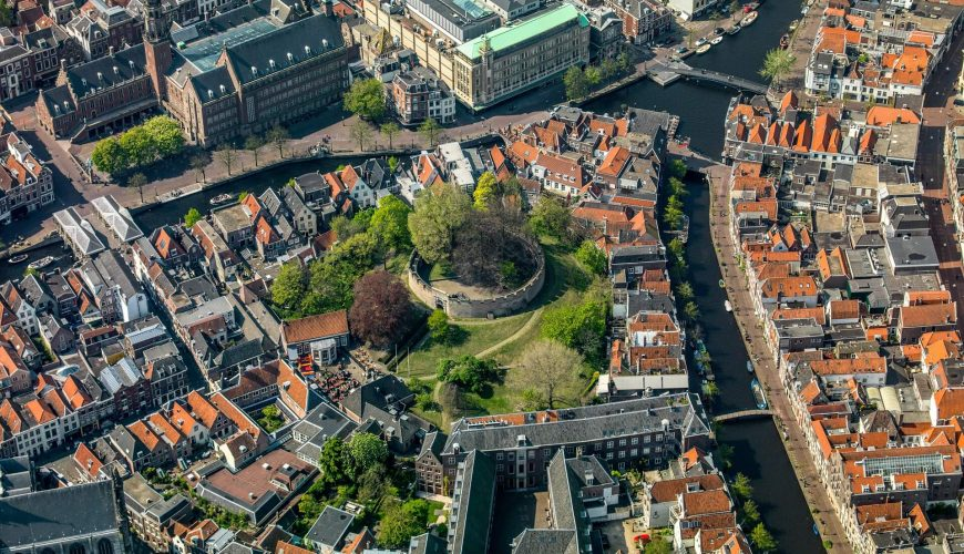 Leiden city centre from the air.