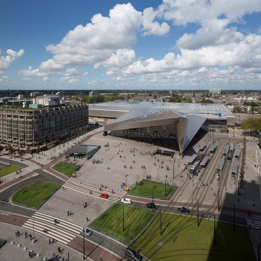 Rotterdam, sunny blue sky with clouds, above view Rotterdam Central Station and surroundings