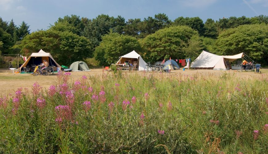 Camping site on Frisian island Ameland, Holland.