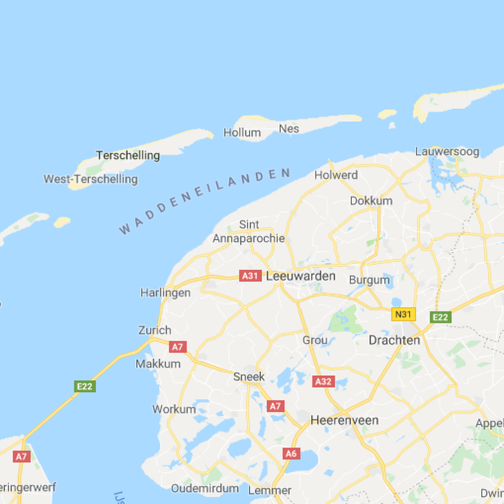 A map of the Frisian Islands of the Netherlands.